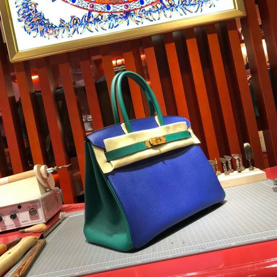 Picture of Hermes Birkin 30cm Epsom Leather Tote Bag Blue Gold