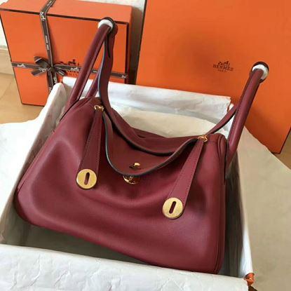 Picture of Hermes Lindy 30cm Swift Leather HandBag Bordeaux Gold