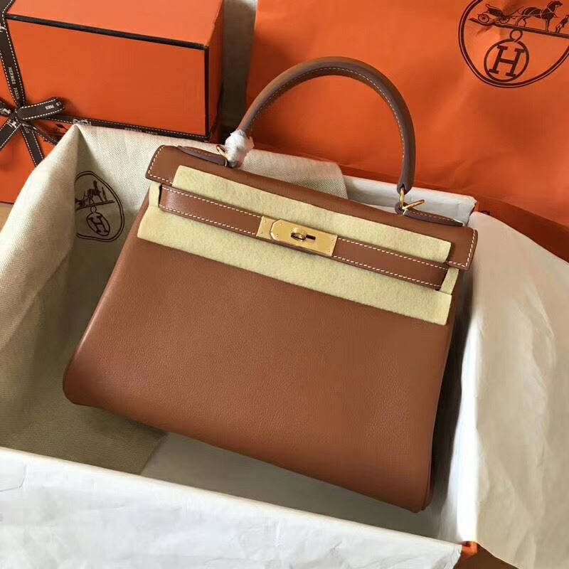 0decbba4e45c Picture of Hermes Kelly 28cm Swift Leather Tote Bag Orange Brown Gold
