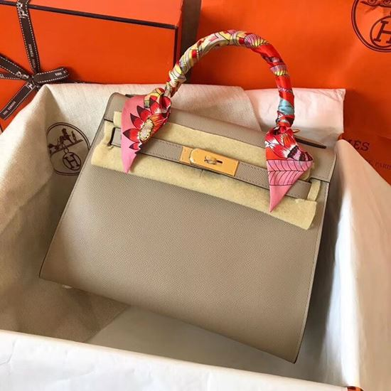Picture of Hermes Kelly 28cm Epsom Leather Tote Bag Grey Gold