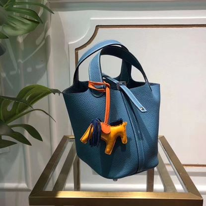 Picture of Hermes Picotin Lock 18/22cm Calfskin Leather Handbag Blue Silver