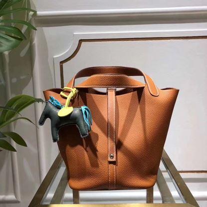 Picture of Hermes Picotin Lock 18/22cm Calfskin Leather Handbag Caramel Silver
