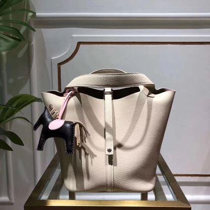 Picture of Hermes Picotin Lock 18/22cm Calfskin Leather Handbag White Silver