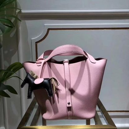 Picture of Hermes Picotin Lock 18/22cm Calfskin Leather Handbag Light Pink Silver