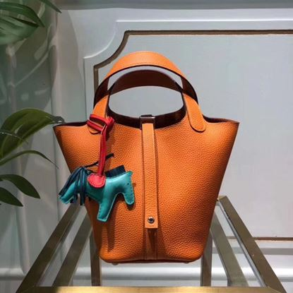 Picture of Hermes Picotin Lock 18/22cm Calfskin Leather Handbag Yellow Orange Silver