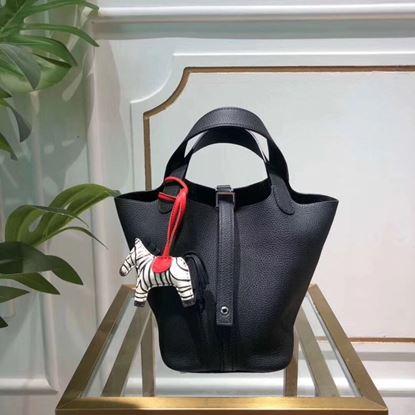 Picture of Hermes Picotin Lock 18/22cm Calfskin Leather Handbag Black Silver