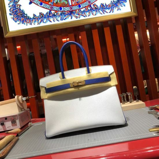 Picture of Hermes Birkin 30cm Epsom leather Tote Bag While Gold