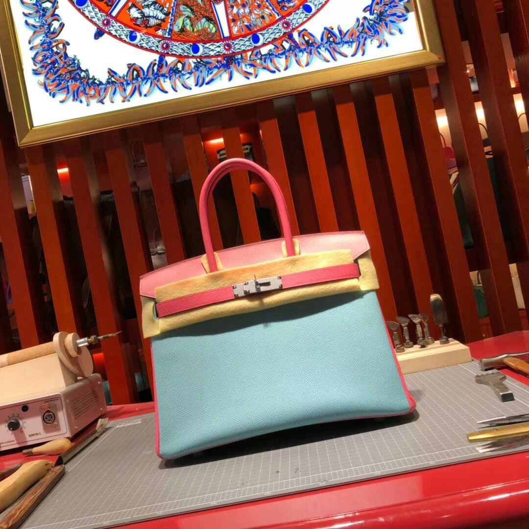 f6997eea993c Picture of Hermes Birkin 30cm Epsom Leather Tote Bag Milk Blue Pink with  pink handles Gold