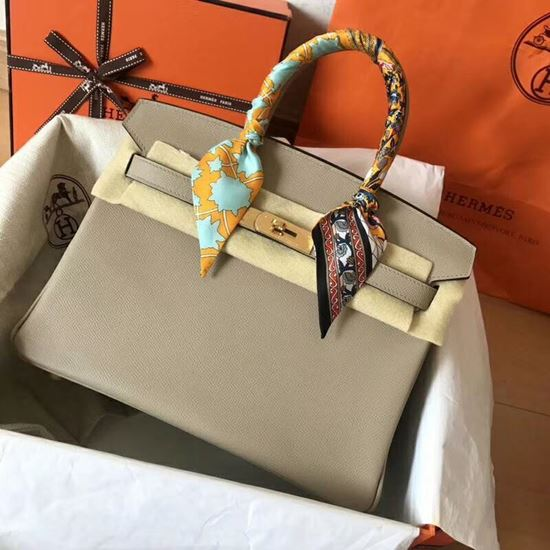Picture of Hermes Birkin 30cm Epsom Leather Tote Bag Mouse Grey Gold