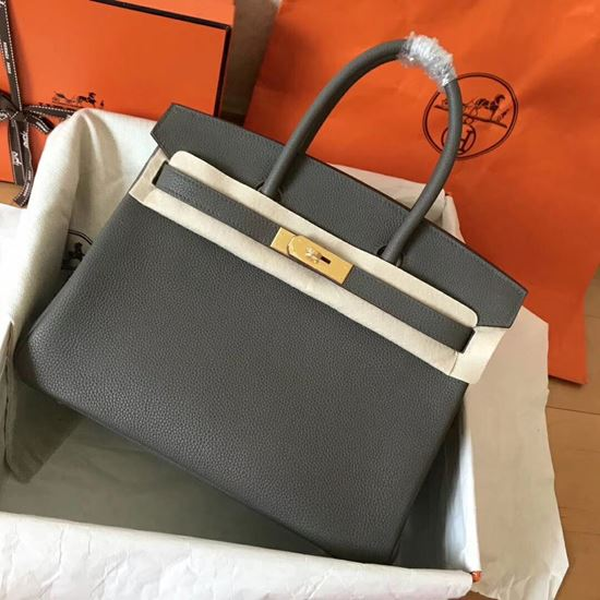 Picture of Hermes Birkin 30cm Togo Leather Tote Bag Mental Grey Gold
