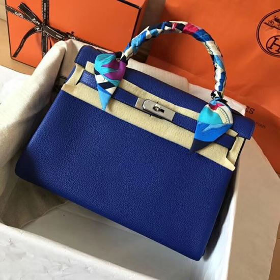 Picture of Hermes Kelly 32cm Calfskin Leather Tote Bag Electric Blue Gold