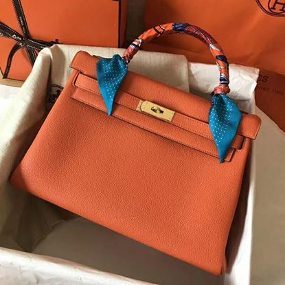 Picture of Hermes Kelly 32cm Calfskin Leather Tote Bag Orange Gold