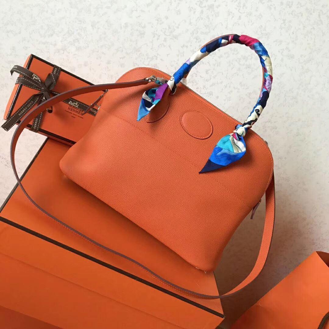 Picture of Hermes Bolide 31cm Togo leather Bag Orange