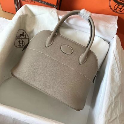 Picture of Hermes Bolide 31cm Togo leather Bag Grey