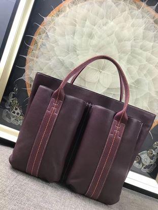 Picture of Hermes Caravane Horizontal 35CM Togo Leather Bag Mauve