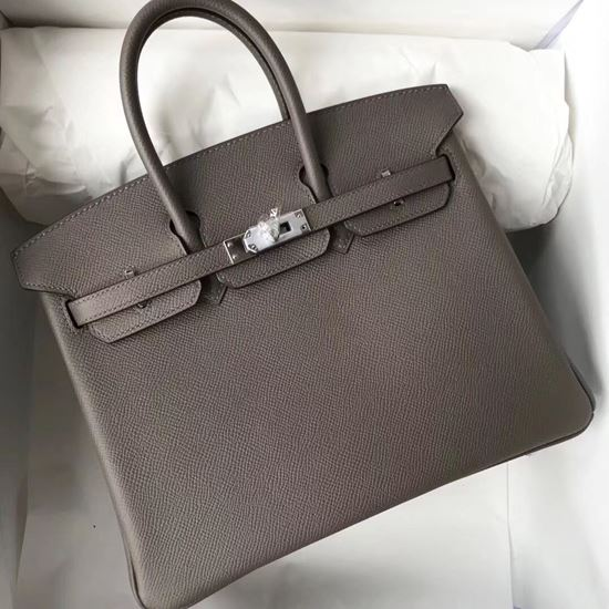 Picture of Hermes 25cm Epsom Leather tote bag Grey Silver