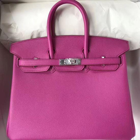 Picture of Hermes 25cm Epsom Leather Tote Bag Red Violet Silver