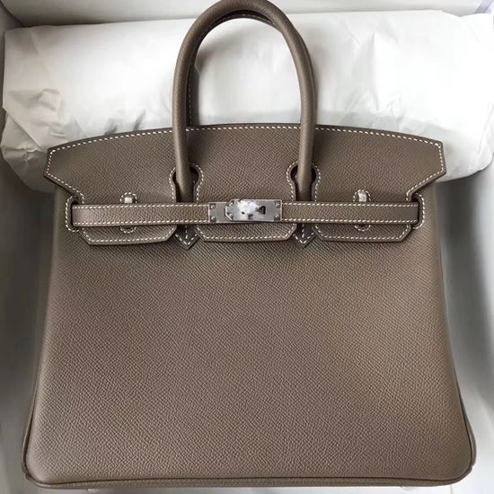 Picture of Hermes 25cm Epsom Leather Tote Bag Brown Grey Silver