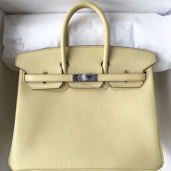 Picture of Hermes 25cm Epsom Leather Tote Ivory Silver