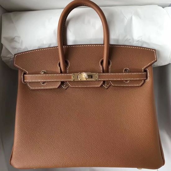 Picture of Hermes 25cm Epsom Leather black with Golden Brown Gold