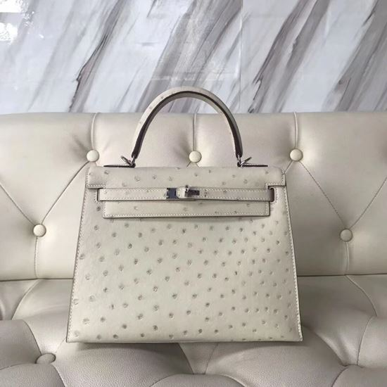 Picture of Hermes Kelly 25cm Ostrich Leather Tote Bag Oyster white Silver