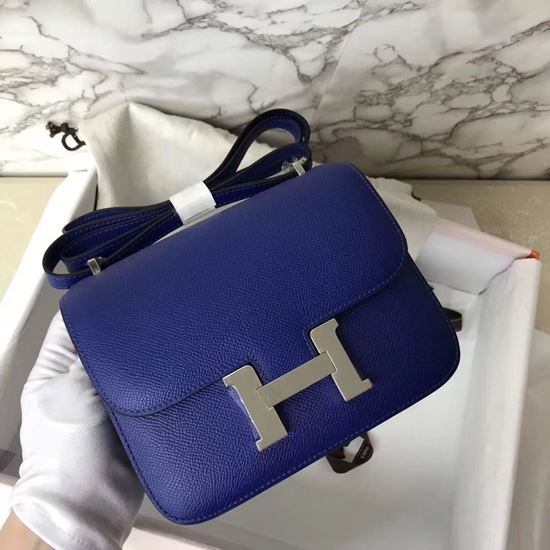 Picture of Hermes Constance 18cm Shoulder Bag Electric Blue Silver