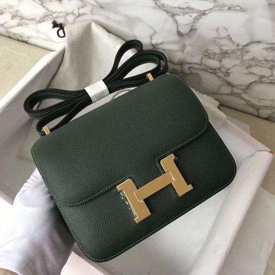 Picture of Hermes Constance 18cm Shoulder Bag British Green Gold