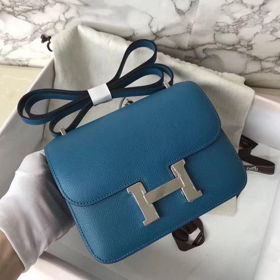 Picture of Hermes Constance 18cm Shoulder Bag Blue Silver