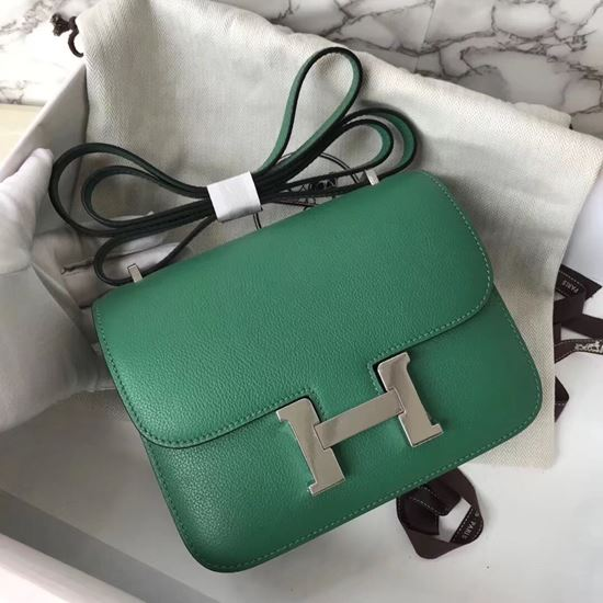 Picture of Hermes Constance 18cm Shoulder Bag Velvet Green Silver