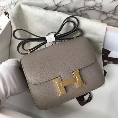 Picture of Hermes Constance 18cm Shoulder Bag Asphalt Grey Gold