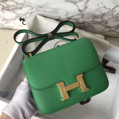 Picture of Hermes Constance 18cm Shoulder Bag Baboo Green Gold(Silver)