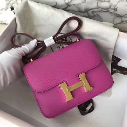 Picture of Hermes Constance 18cm Shoulder Bag Yulan Pink Gold