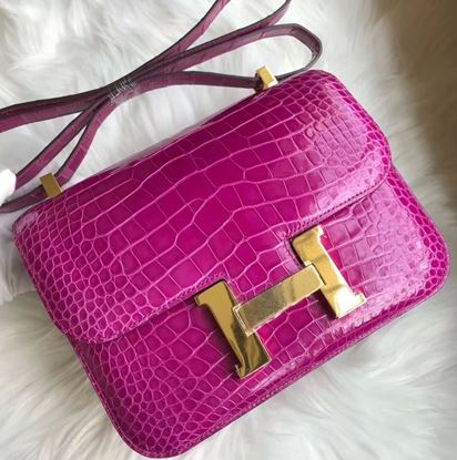 Picture of Hermes Constance 18cm Shoulder Bag  Violet  Gold