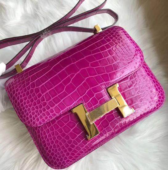 Picture of Hermes Constance 18cm Shoulder Bag  Violet  Gold