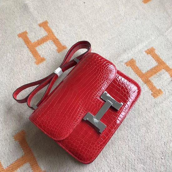 Picture of Hermes Constance 18cm Shoulder Bag Red Silver