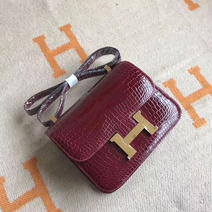 Picture of Hermes Constance 18cm Shoulder Bag Red Wine Gold