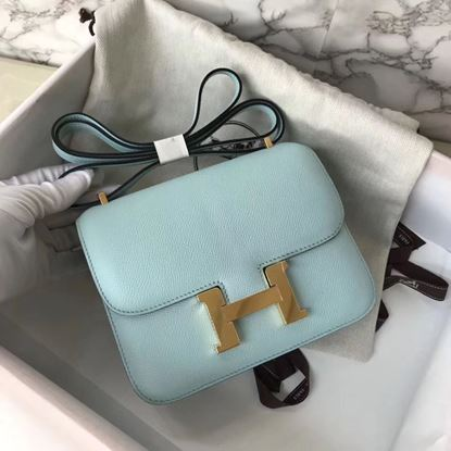Picture of Hermes Constance 18cm Shoulder Bag Brillant Light Blue Gold