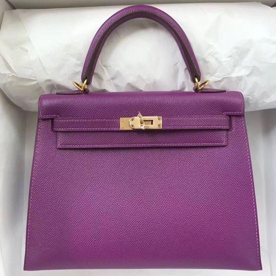 Picture of Hermes Kelly 25cm Epsom Leather Tote Bag Pastel Violet Gold (Silver)