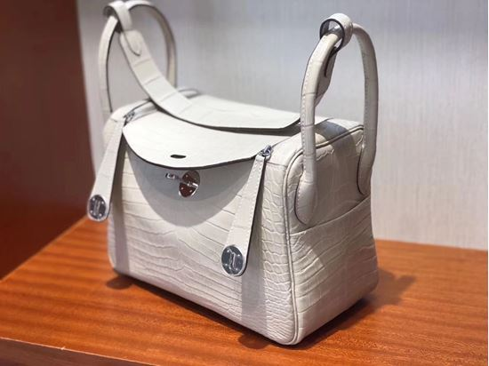 Picture of Hermes Lindy 26cm Crocodile Leather HandBag Milk White Silver
