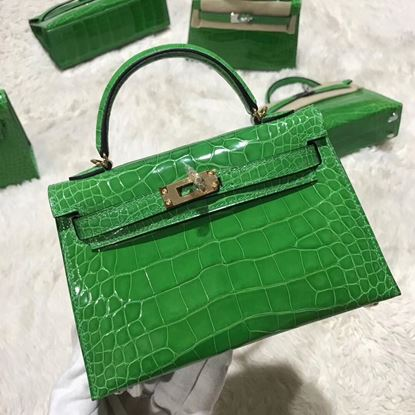 Picture of Hermes MiniKelly Crocodile leather Tote Bag Grass Green Gold