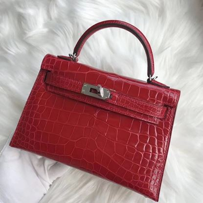 Picture of Hermes MiniKelly Crocodile leather Tote Bag Red Silver