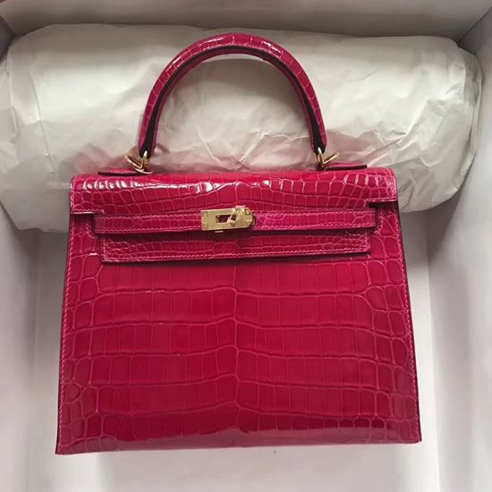 Picture of Hermes 28cm Crocodile leather Tote Bag Beigo Red Gold