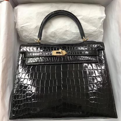 Picture of Hermes 28cm Crocodile leather Tote Bag Black Gold