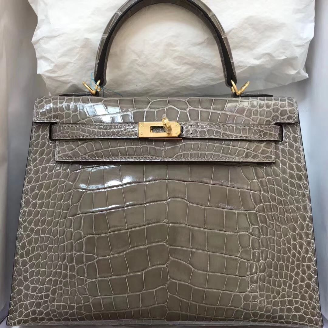 db76bdd8bcfa Picture of Hermes 28cm Crocodile leather Tote Bag Grey Gold