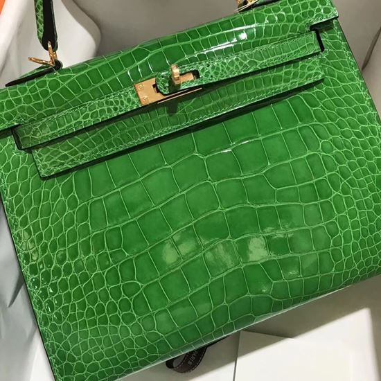 Picture of Hermes 28cm Crocodile leather Tote Bag Mint Green Gold