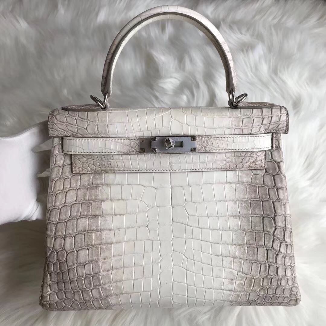 221605a24fd3 Picture of Hermes Kelly 28cm Crocodile leather Tote Bag White Grey Silver