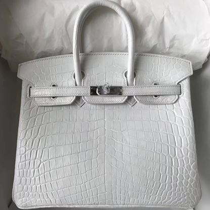 Picture of Hermes Kelly 25cm Matte Crocodile leather Tote Bag White Silver