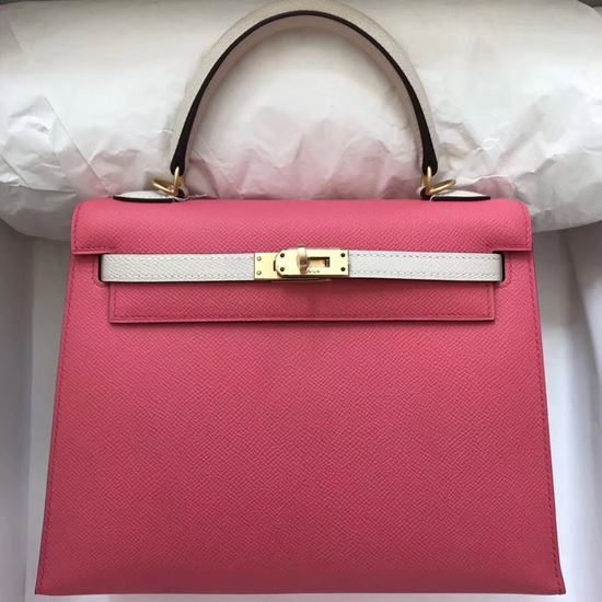 Picture of Hermes Kelly 25cm Epsom Leather Tote Bag Lip Pink with White Handles Gold
