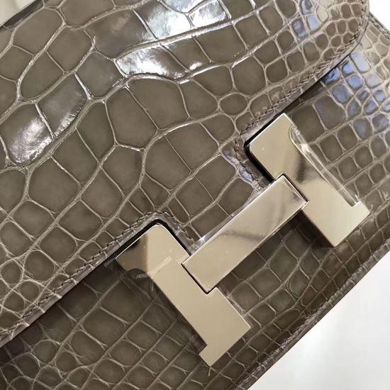 Picture of Hermes Constance 18cm Crocodile Leather Shoulder Bag Grey Gold