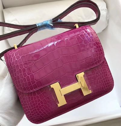Picture of Hermes Constance 18cm Crocodile Leather Shoulder Bag Violet Gold